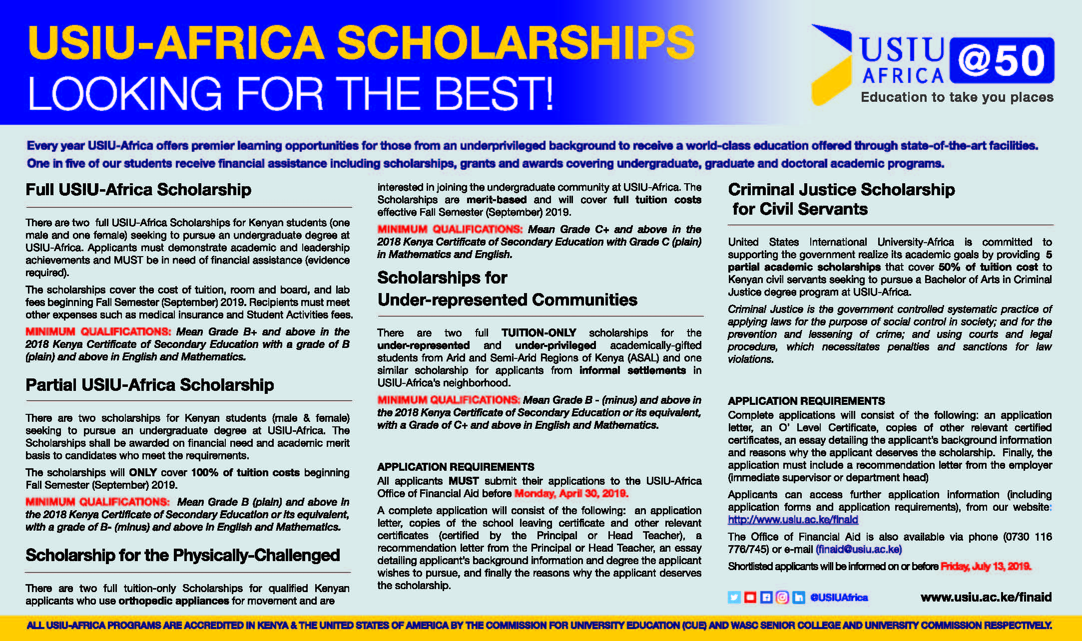 USIU-AFRICA SCHOLARSHIPS; DEADLINE - Monday, April 30, 2019.