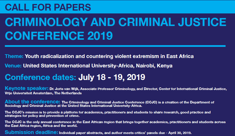 Criminology and Criminal Justice Conference 2019 - USIU