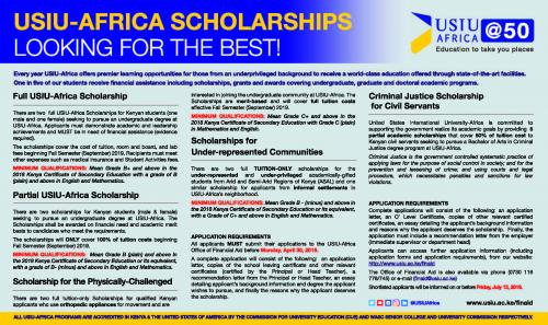USIU-AFRICA SCHOLARSHIPS; DEADLINE - Monday,...