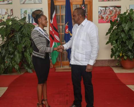 Miss University Africa pays President Uhuru Kenyatta a courtesy call at State House