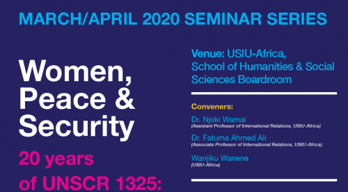 MARCH/APRIL 2020 SEMINAR SERIES: Women, Peace &...