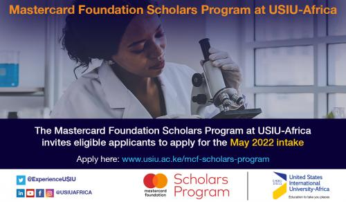 Call for Applications for Mastercard Foundation Scholars Program at USIU-Africa for the Summer (May) 2022 Intake